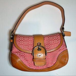 Leather Signature Pink Shoulder Bag B0894-F10925